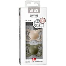 Bibs Couture Silicone Pacifier 2-pack Anatomical Vanilla / Olive