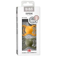 Bibs Supreme Silicone Pacifier 2-pack Symmetrical Honey Bee / Olive