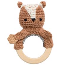 Sebra Knitted Rattle Milo The Bear Twig Brown
