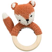 Sebra Knitted Rattle Fox Sparky Fox Tail Red