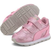 Puma Vista Glitz V Infant Pink Peachskin Silver Sneakers