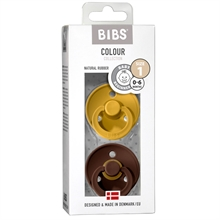 Bibs Color Latex Sutter 2-pack Round Mustard/Mocha