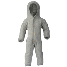Engel Hooded Overall m. Knappar Light Grey Mélange