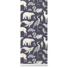 Ferm Living Katie Scott Wallpaper Animal Dark Blue