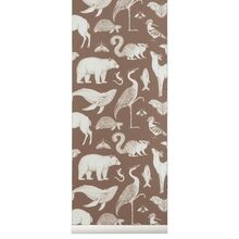 Ferm Living Katie Scott Wallpaper Animal Toffee Brown