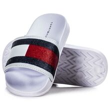 Tommy Hilfiger Flag Print Pool Slide Bianco